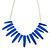 Blue Enamel Geometric Necklace In Silver Tone - 44cm L/ 7cm Ext