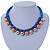 Blue Silk Cord With Gold/ Silver/ Rose Gold Balls Choker Necklace - 42cm L/ 5cm Ext - view 2