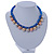 Blue Silk Cord With Gold/ Silver/ Rose Gold Balls Choker Necklace - 42cm L/ 5cm Ext - view 7
