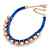 Blue Silk Cord With Gold/ Silver/ Rose Gold Balls Choker Necklace - 42cm L/ 5cm Ext - view 6
