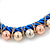 Blue Silk Cord With Gold/ Silver/ Rose Gold Balls Choker Necklace - 42cm L/ 5cm Ext - view 5