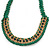 Grass Green Woven Silk Cord Emerald Green Crystal with Gold Chain Necklace - 42cm L/ 8cm Ext - view 5