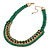 Grass Green Woven Silk Cord Emerald Green Crystal with Gold Chain Necklace - 42cm L/ 8cm Ext - view 6