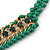 Grass Green Woven Silk Cord Emerald Green Crystal with Gold Chain Necklace - 42cm L/ 8cm Ext - view 3