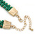 Grass Green Woven Silk Cord Emerald Green Crystal with Gold Chain Necklace - 42cm L/ 8cm Ext - view 4