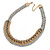 Light Grey Woven Silk Cord Emerald Green Crystal with Gold Chain Necklace - 42cm L/ 8cm Ext - view 8