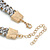 Light Grey Woven Silk Cord Emerald Green Crystal with Gold Chain Necklace - 42cm L/ 8cm Ext - view 5