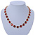Statement Bezel Set Red Glass Bead Necklace In Gold Plating - 44cm L/ 7cm Ext - view 2
