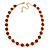 Statement Bezel Set Red Glass Bead Necklace In Gold Plating - 44cm L/ 7cm Ext - view 5