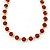 Statement Bezel Set Red Glass Bead Necklace In Gold Plating - 44cm L/ 7cm Ext - view 6
