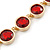 Statement Bezel Set Red Glass Bead Necklace In Gold Plating - 44cm L/ 7cm Ext - view 3