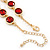 Statement Bezel Set Red Glass Bead Necklace In Gold Plating - 44cm L/ 7cm Ext - view 4