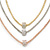 3 Strand Mesh Layered Necklace with Crystal Rings In Gold/ Rose Gold/ Silver Tone - 54cm L/ 4cm Ext - view 7
