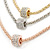 3 Strand Mesh Layered Necklace with Crystal Rings In Gold/ Rose Gold/ Silver Tone - 54cm L/ 4cm Ext - view 2