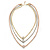 3 Strand Mesh Layered Necklace with Crystal Rings In Gold/ Rose Gold/ Silver Tone - 54cm L/ 4cm Ext - view 6