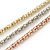3 Strand Mesh Layered Necklace with Crystal Rings In Gold/ Rose Gold/ Silver Tone - 54cm L/ 4cm Ext - view 5