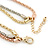 3 Strand Mesh Layered Necklace with Crystal Rings In Gold/ Rose Gold/ Silver Tone - 54cm L/ 4cm Ext - view 4