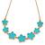 Cyan Blue Enamel Floral Necklace In Gold Tone - 40cm L/ 8cm Ext