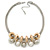 Silver Tone Chunky Mesh Chain with Gold Rings, Pearl and Metal Ball Necklace - 42cm L/ 9cm Ext
