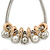 Silver Tone Chunky Mesh Chain with Gold Rings, Pearl and Metal Ball Necklace - 42cm L/ 9cm Ext - view 5