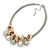 Silver Tone Chunky Mesh Chain with Gold Rings, Pearl and Metal Ball Necklace - 42cm L/ 9cm Ext - view 6