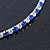 Thin Sapphire Blue/ Clear Austrian Crystal Choker Necklace In Rhodium Plated Metal - 33cm L/ 16cm Ext - view 4