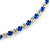 Thin Sapphire Blue/ Clear Austrian Crystal Choker Necklace In Rhodium Plated Metal - 33cm L/ 16cm Ext - view 9