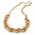 Statement Gold Plated Chunky Oval Link Necklace - 63cm L/ 8cm Ext