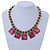 Statement Square Raspberry Pink Glass Station, Black Glass Bead With Gold Tone Chunky Chain Necklace - 44cm L/ 9cm Ext - view 2