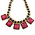 Statement Square Raspberry Pink Glass Station, Black Glass Bead With Gold Tone Chunky Chain Necklace - 44cm L/ 9cm Ext - view 7