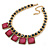 Statement Square Raspberry Pink Glass Station, Black Glass Bead With Gold Tone Chunky Chain Necklace - 44cm L/ 9cm Ext - view 8