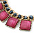 Statement Square Raspberry Pink Glass Station, Black Glass Bead With Gold Tone Chunky Chain Necklace - 44cm L/ 9cm Ext - view 3