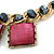 Statement Square Raspberry Pink Glass Station, Black Glass Bead With Gold Tone Chunky Chain Necklace - 44cm L/ 9cm Ext - view 6