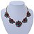 Vintage Inspired Turquoise, Purple Glass Bead Floral Necklace with Gold Tone Chain - 40cm L/ 5cm Ext - view 2