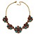 Vintage Inspired Turquoise, Purple Glass Bead Floral Necklace with Gold Tone Chain - 40cm L/ 5cm Ext - view 6