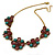 Vintage Inspired Turquoise, Purple Glass Bead Floral Necklace with Gold Tone Chain - 40cm L/ 5cm Ext - view 7