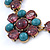 Vintage Inspired Turquoise, Purple Glass Bead Floral Necklace with Gold Tone Chain - 40cm L/ 5cm Ext - view 4