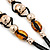 Long Brown, Gold Acrylic Bead Black Silk Cotton Cord Necklace - 88cm L - view 3