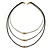 3 Strand, Beaded, Layered Mesh Chain Necklace In Black/ Anthracite/ Silver Tone - 86cm L - view 6