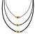 3 Strand, Beaded, Layered Mesh Chain Necklace In Black/ Anthracite/ Silver Tone - 86cm L - view 7