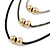 3 Strand, Beaded, Layered Mesh Chain Necklace In Black/ Anthracite/ Silver Tone - 86cm L - view 2