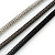 3 Strand, Beaded, Layered Mesh Chain Necklace In Black/ Anthracite/ Silver Tone - 86cm L - view 5