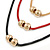 3 Strand, Beaded, Layered Mesh Chain Necklace In Black/ Red/ Gold Tone - 86cm L - view 3