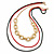 3 Strand, Layered Oval Link, Box Style Chain Necklace In Black/ Red/ Gold Tone - 86cm L