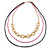 3 Strand, Layered Oval Link, Box Style Chain Necklace In Black/ Pink/ Gold Tone - 86cm L - view 7