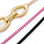 3 Strand, Layered Oval Link, Box Style Chain Necklace In Black/ Pink/ Gold Tone - 86cm L - view 4