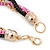3 Strand, Layered Oval Link, Box Style Chain Necklace In Black/ Pink/ Gold Tone - 86cm L - view 5