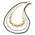 3 Strand, Layered Oval Link, Box Style Chain Necklace In Black/ Silver/ Gold Tone - 86cm L