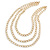 3 Strand, Layered Textured Oval Link Necklace In Gold Tone - 86cm L