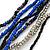 Silver/ Blue/ Black Multistrand Glass Bead Long Necklace - 72cm L - view 3